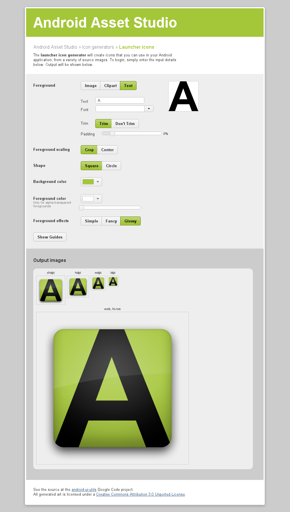 Android Menu Icon Size android asset studio – generate icons for your android app