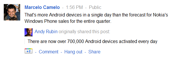 That's more Android devices in a single day than the forecast for Nokia's Windows Phone sales for the entire quarter.